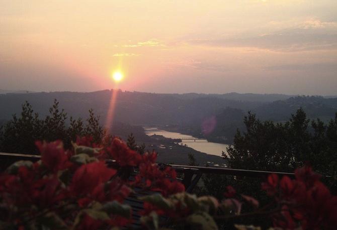 Dawn view up Knysna River from Chutzpah deck at Phantom Forest
